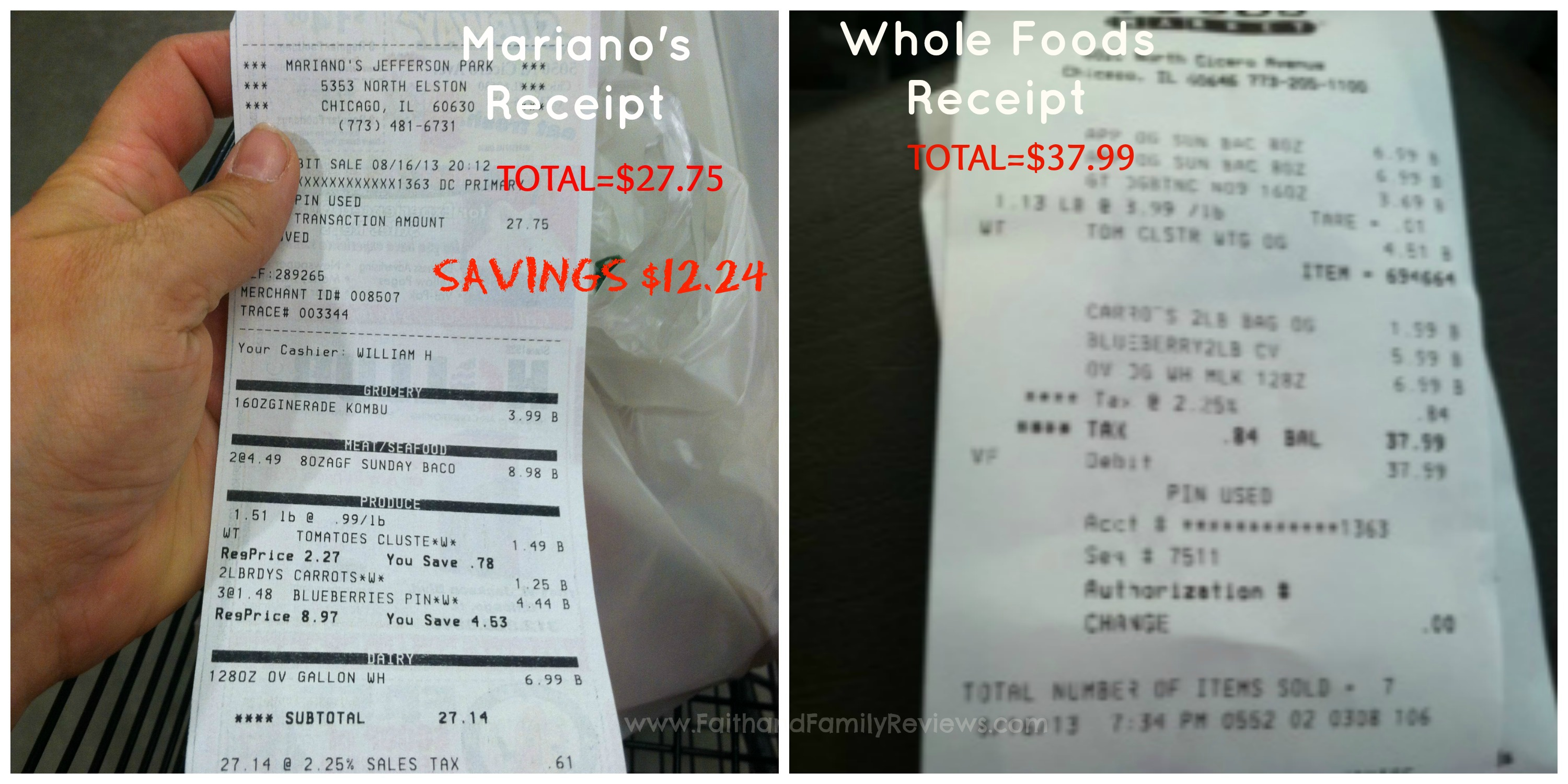 Mariano's Receipt Comparison