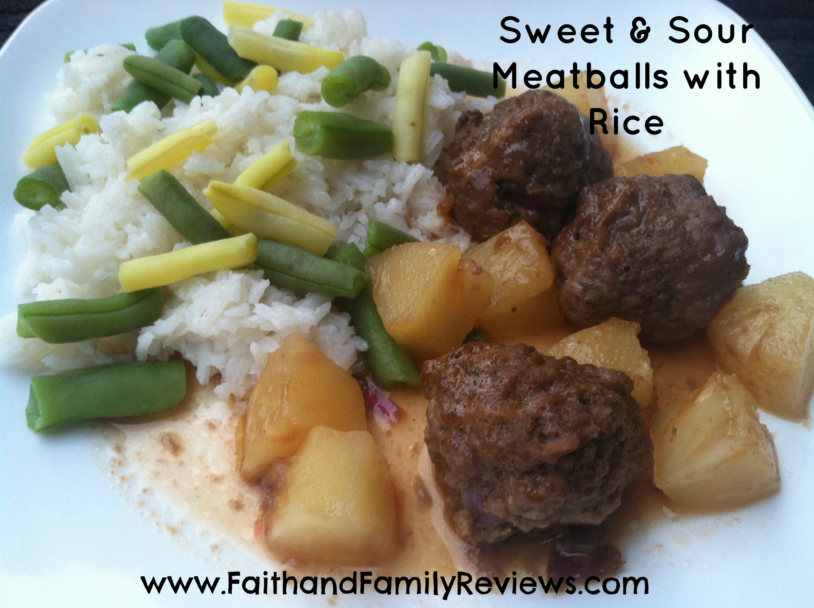 Sweet and Sour Meatballs and Rice-edit