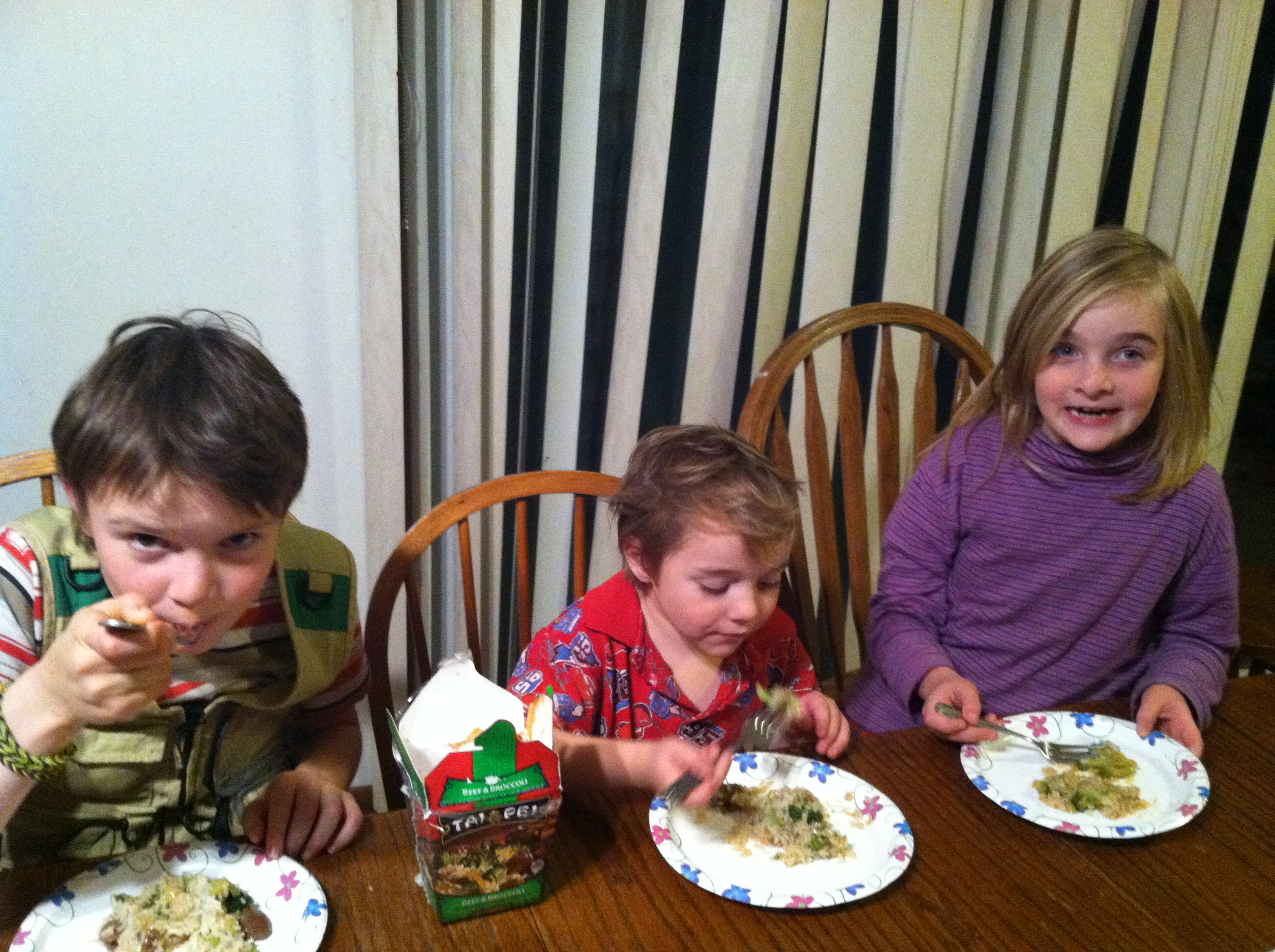 Kids eating Tai Pei Beef and Broccoli
