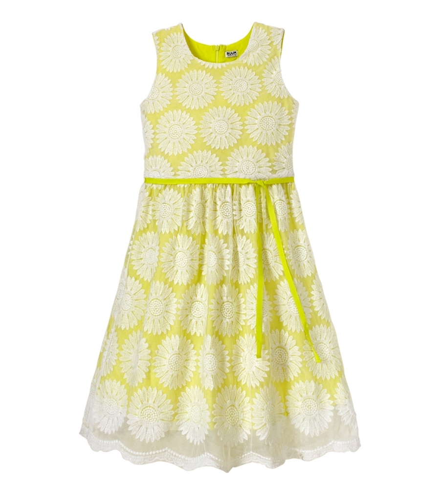 RUUM Kid's Embroidered Flower Dress