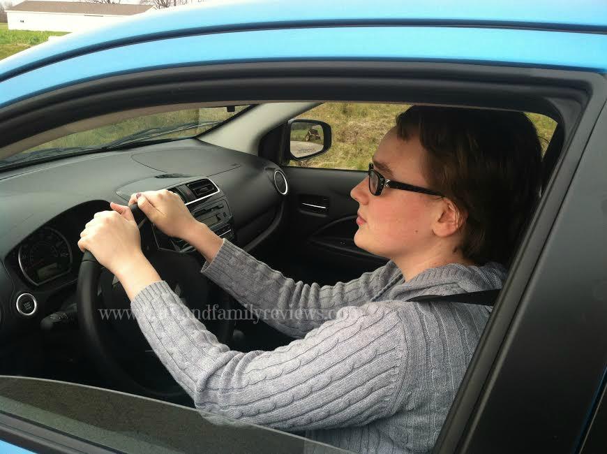 Bobbie Driving 2015 Mitsubishi Mirage_